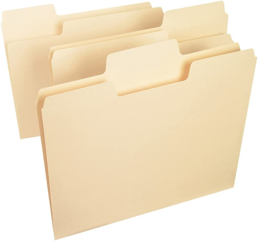 Smead SuperTab File Folder, Oversized 1/3-Cut Tab, Letter Size, Manila, 100 Per Box (10301) : Manila File Folders : Office Products