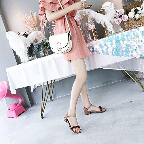 5 Slipper CAICOLOR dimensioni con e Tacco strass quadrata aperto Colore Rosa UK4 CN37 EU37 basso punta con lavoro cinturino Rosa da 5 8UB8drxZ