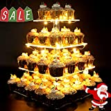 Vdomus Pastry Stand 4 Tier Acrylic Cupcake Display Stand with LED String Lights Dessert Tree Tower for Birthday/Wedding Party (Square Style)