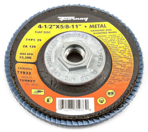 Forney Arbor - Forney 71933 Flap Disc, Type 29 Blue Zirconia with 5/8-Inch-11 Threaded Arbor, 120-Grit, 4-1/2-Inch