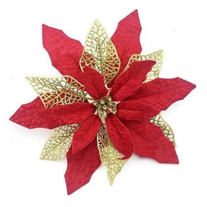 YJBear 10 pcs 9.4 Inch Artificial Hollow Glitter Christmas Poinsettia  Flower Christmas Tree Decoration Xmas Wedding - Amazon.com: YJBear 10 Pcs 9.4 Inch Artificial Hollow Glitter