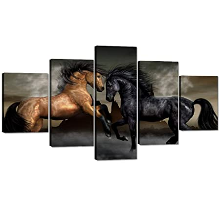 Yatsen Bridge Horses Posters and Prints Modern Landscape Painting Pictures Wall Art for Living Room, Home Decor Gallery-Wrapped Canvas Art 5 Piece Set Framed Ready to Hang 60 W x 32 H
