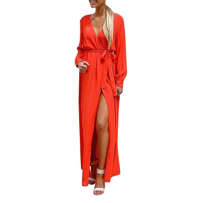 Lonshell Mujer Vestidos Moda Casual Manga Larga Cuello en V Sólido Cinturón de Vendaje Suelto Vestido Largo Túnicas Bata de Noche Falda Larga Robe Pijama: ...
