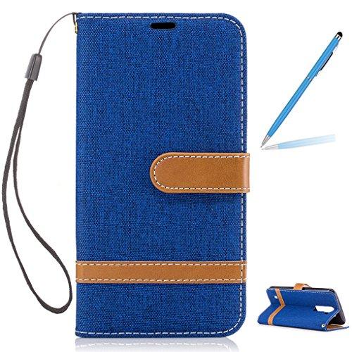 Trumpshop Smartphone Carcasa Funda Protección para LG K7 / LG K8 [Verde] Estilo Vaquero PU Cuero Caja Protector Billetera [No compatible con LG K8 (2017)] Azul
