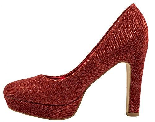 Elara Elara compensées femme femme compensées Rouge chaussures Rouge chaussures 74pUR5q
