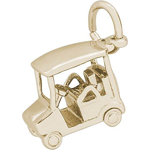 14k Golf Gold (Rembrandt Charms Golf Cart Charm, 14K Yellow Gold)
