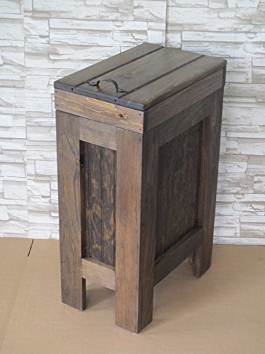 Rustic Wood Trash Bin, Kitchen Trash Can, Wood Trash Can, Dog food storage, 13 Gallon , Recycle Bin, Walnut Stain with Metal Handle - Handmade in USA By BuffaloWoodshop by BuffaloWood Shop