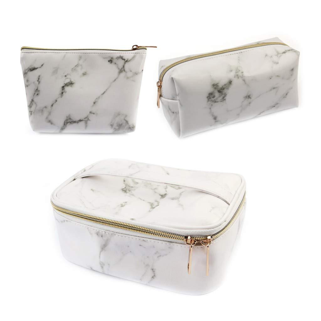 3PC Marble Leather Makeup Case Cosmetic Bag PU Leather Makeup Organizers Storage Portable Brush Holder with Adjustable Divider Zipper Pocket for Cosmetics Tools Gadgets Gift for Women
