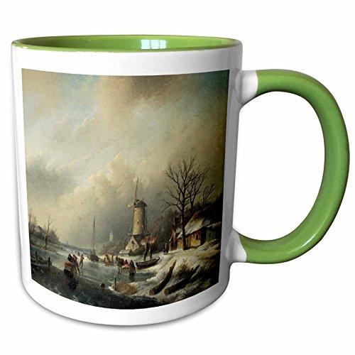 3dRose BLN Scenes of Winter Fine Art Collection - Winterlandschap met Figuren by Jan Jacob Spohler Windmill Landscape - 15oz Two-Tone Green Mug (mug_175482_12) ()