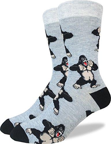 Good Luck Sock Men's Gorilla Crew Socks - Grey, Adult Shoe Size 7-12