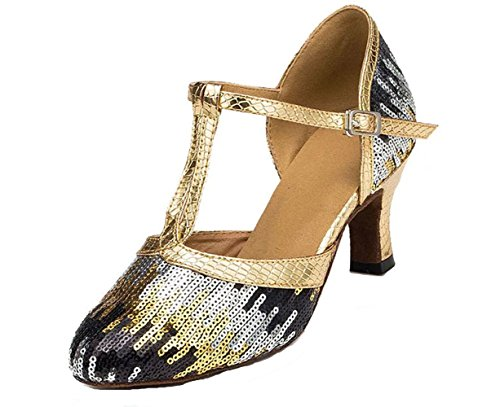 Honeystore Women's Strap Sequin Mid Heel Dress Party Pump Glitter Salsa Tango Latin Dance Shoes Gold 9 B(M) US