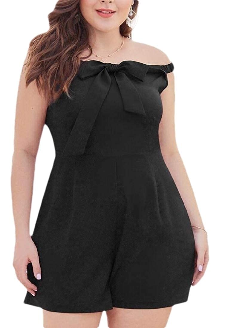 Xswsy XG Womens Plus Size Off Shoulder Bowknot Shorts Rompers Jumpsuit