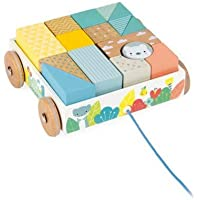Janod Pure Pull-Along 16 PC Cherry Wood Pastel Block Set in Matching Cart for Sorting & Motor Skills Ages 18+ Months