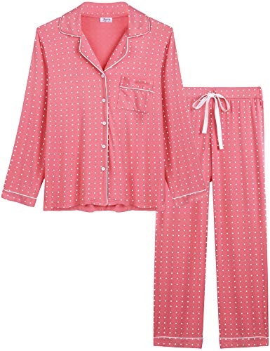 (Womens Soft Bamboo Pajama Sets Button Down Long Sleeve Pj Pants Set Sleepwear (Polka dot Rose Red, Small))