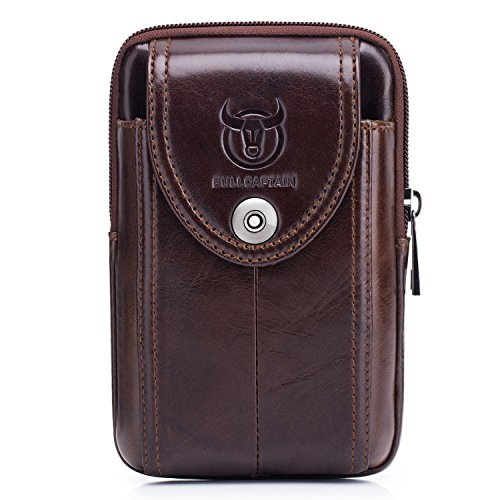 BULL CAPTAIN Cellphone Pouch Genuine Leather Vertical Men Belt Loop Holster Waist Bag Wallet with a Clip Men's Purse Carrying Case Brown YB-7 (Brown) - Mens Bull Pouch