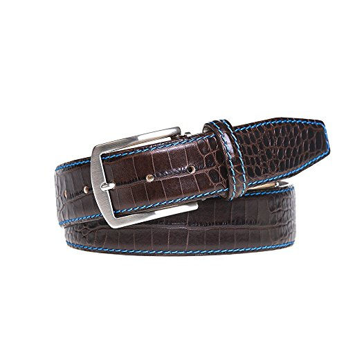 Dark Brown Italian Mock Croc Leather Belt by Roger Ximenez: Bespoke Maker of Fine Leather Goods