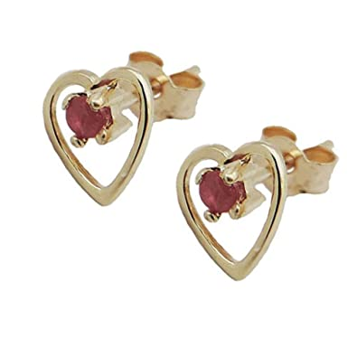 9ct Yellow Gold Created Ruby 5mm Round Stud Earrings - July Birthstone YJpAeuyBfq