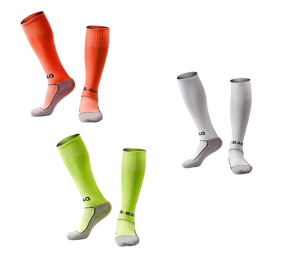 OUAYJI kids Knee High Sport Towel Bottom training compression Soccer Football Socks 3 pairs white&green&orange by OUYAJI