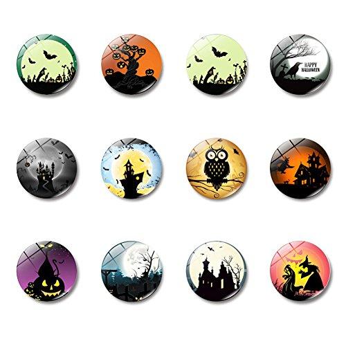 [12pcs 30mm Halloween Gemstone Magnetic Glass Refrigerator Photo Custom Vintage Flower Pattern Stickers Personalised Fridge Kitchen Photos Letter Magnets] (Custom Halloween Pattern)