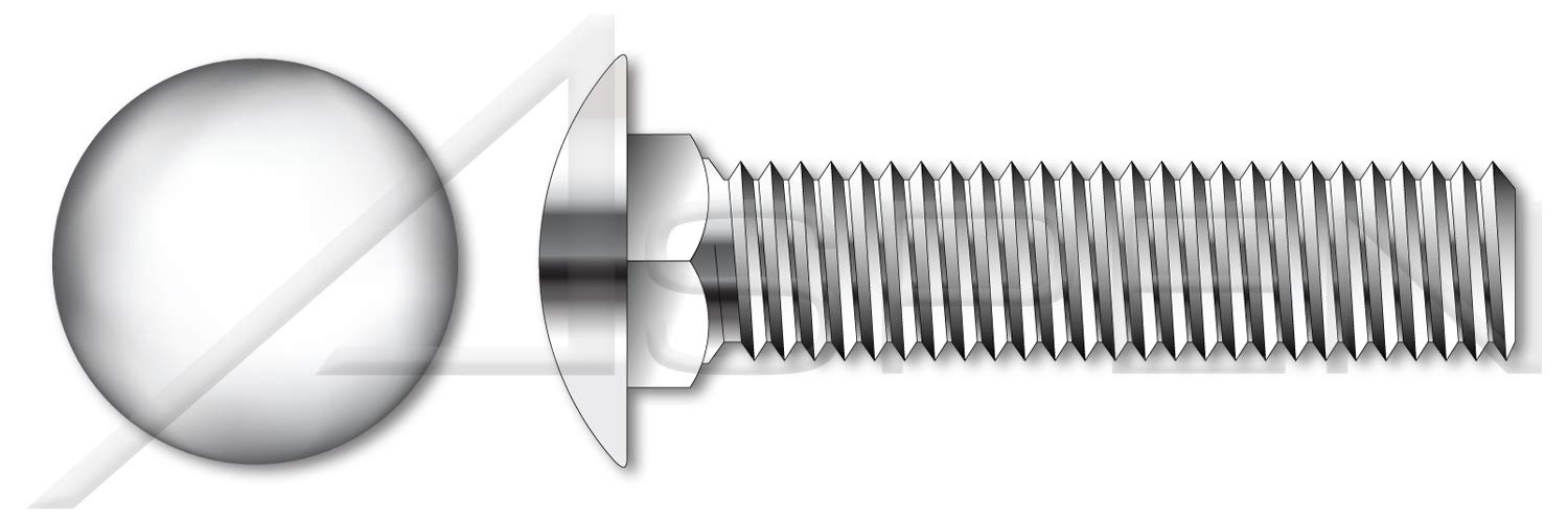 Full Thread AISI 304 Stainless Steel Round Head Square Neck 3//8-16 X 2-1//4 Carriage Bolts 25 pcs 18-8