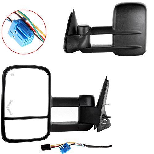 OCPTY Pair of Power Heated View Side LED Signal Telescopic Tow Mirrors Replacement fit for 03-07 Chevy/GMC Silverado/Sierra (07 Classic Models) ()