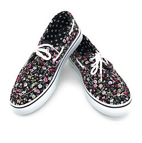 Blue Berry EASY21 Women Canvas Round Toe Lace up Flat Sneaker Oxford Boat Shoe,Black Floral,Size 8]()