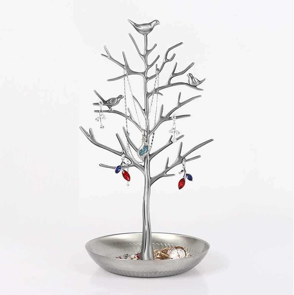 Soporte de joyería de metal con ramas de árbol de pájaros, soporte para joyas, pulsera, con base de bandeja de joyería para collares, pulseras, pendientes, anillos para niñas y mujeres plateado