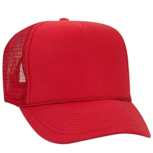(OTTO Polyester Foam Front 5 Panel High Crown Mesh Back Trucker Hat - Red)