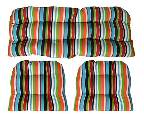 Sunbrella Carousel Confetti 3 Piece Wicker Cushion Set - Indoor / Outdoor Wicker Loveseat Settee & 2 Matching Chair Cushions - Turquoise, Navy, Lime Green, Orange. Red & White Stripe (Set Cushion Sunbrella)