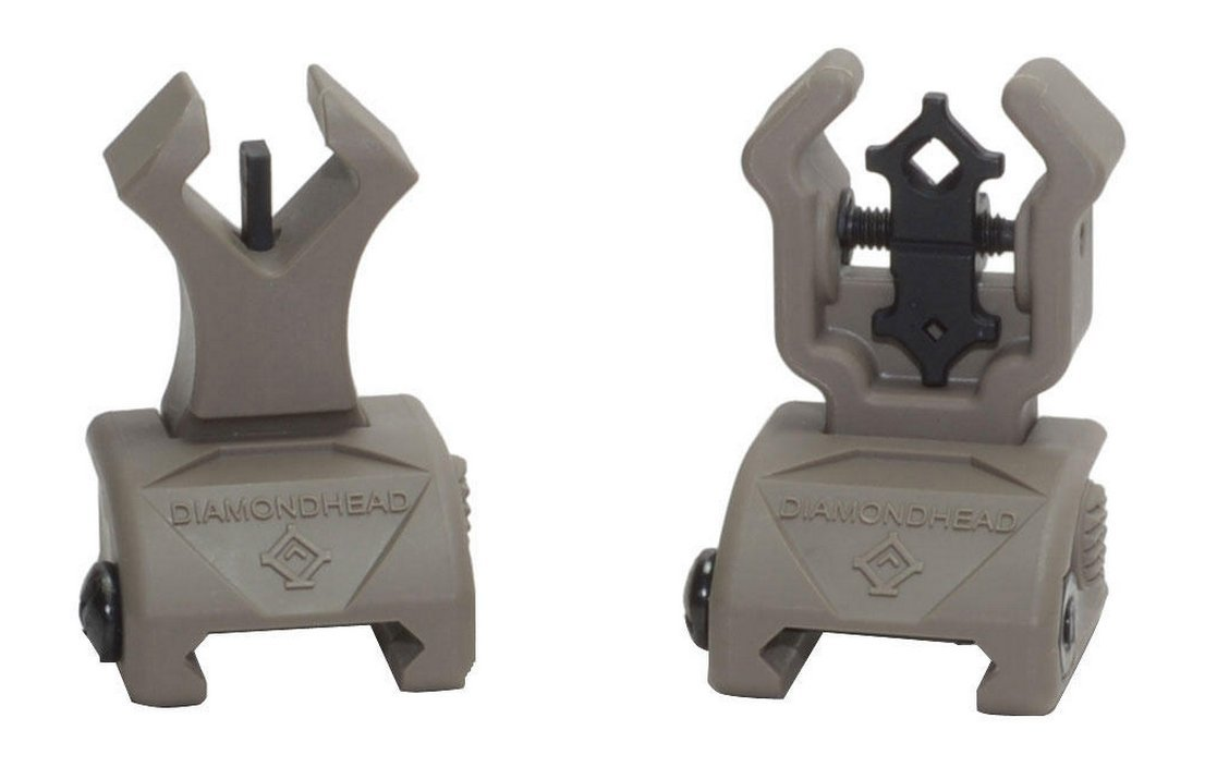 Diamondhead USA Polymer Diamond Integrated Sighting System Front and Rear Flip Up Sights, Flat Dark Earth