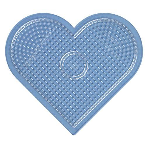 Hama 233TR - Loisirs Créatifs - Plaque pour Perles à Repasser Midi - Coeur Transparent