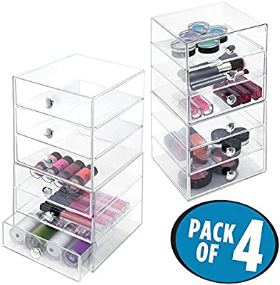 mDesign cajonera con tres cajones - Organizador de escritorio con tres cajones en color transparente - Práctico organizador de maquillaje con cajones ...