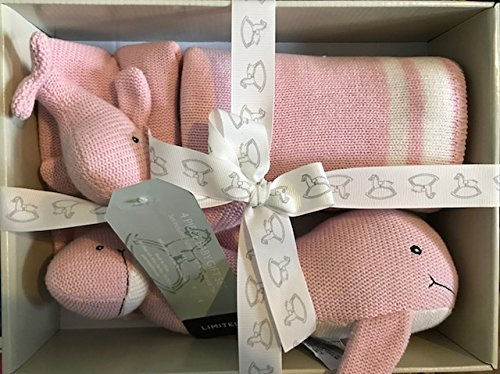 Peacock Alley Luxury 4 Pc. Baby Gift Set Pink Whale with Gift Box