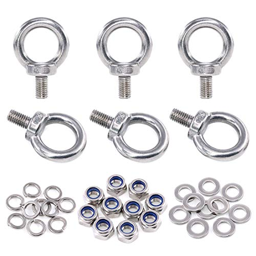 Swpeet 36Pcs 304 Stainless Steel M8 Male Thread Lifting Ring Eye Bolt Kit, Including 6Pcs M5 Eye Bolt with 10Pcs Lock Nuts, 10Pcs Lock Washers and 10Pcs Flat Washers by Swpeet