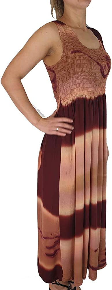 Fits sizes 8-28 Ladies Long Summer Flowing Sleeveless Dress With Smocked Top