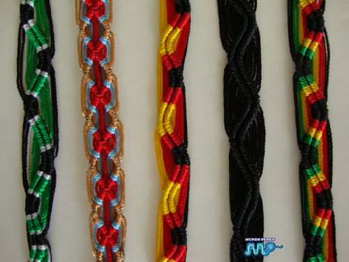 (Friendship Bracelet Hand Woven Peru Folk Art Craft Lot of 5 [Very vivid colored threads] Nice mixed set!!!)