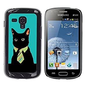 TECHCASE**Cubierta de la caja de protección la piel dura para el ** Samsung Galaxy S Duos S7562 ** Office Business Kitty Cat