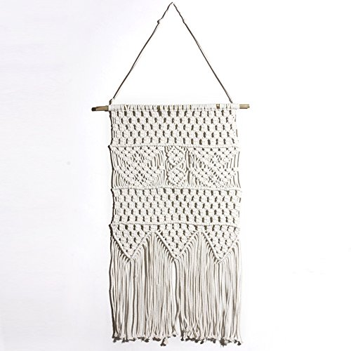 Macrame Wall Hanging Home Boho Wall Decro Tapestry Cotton Handmade Knitted Kitchen Unique Decorative Hangings Off-White Color DS03-7 (White Macrame)