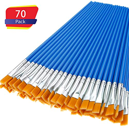 70 Pieces Flat Paint Brushes, Small Brush for Detail Painting, Brushes Set Acrylic Oil Watercolor Art Painting for Kids, Students, Teens, Adults, Starter, Artist ()