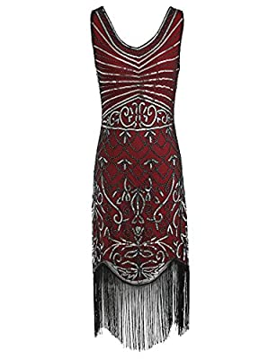 celeblink 1920s Sequin Flapper Dress Great Gatsby Inspired Embellished Dress