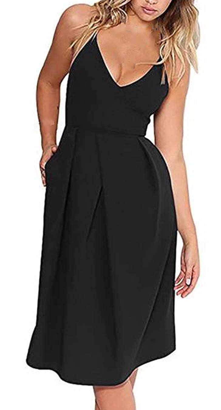 6f4425c2a0b62 Item   Deep V Neck Backless Summer Party Dress(Adjustable crossover straps