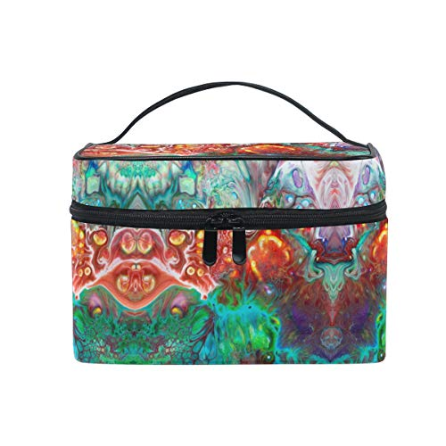 Rainbow Abstract Devil Women Makeup Bag Travel Cosmetic Bags Toiletry Train Case Beauty Pouch Organizer ()