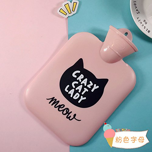 Cat Hot Water Bottle (New Hot Water Bottle Small Fresh Cute Cat Warm Hand Po Yu Cold Warm Hands Pour Water Plumbing Plumbing Baby Pink letters)