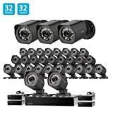 Zmodo 32 Channel Network NVR System 32 x HD Outdoor Surveillance Security Camera, Adjustable Night Vision, sPoE Repeater for Flexible Extension