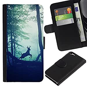All Phone Most Case / Oferta Especial Cáscara Funda de cuero Monedero Cubierta de proteccion Caso / Wallet Case for Apple Iphone 6 // bosque viñeta ciervos sol naturaleza mañana