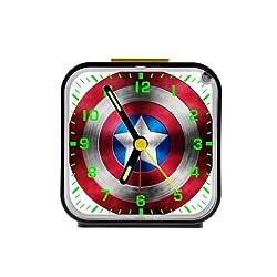Custom Captain america shield Square Black Alarm Clock