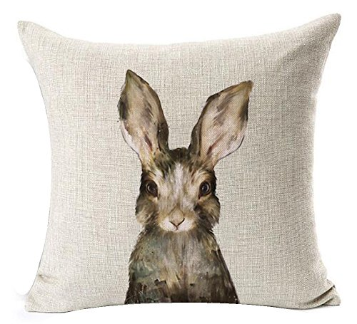 Price comparison product image Nordic Simple Ink Painting Watercolor Animal Adorable Bunny Rabbit Cotton Linen Throw Pillow Case Personalized Cushion Cover NEW Home Office Decorative Square 18 X 18 Inches Christmas Gift