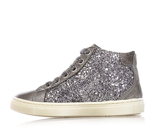 Schwarz Garten–Sneaker versilbert angeschnitten in Glitter und Leder, Mädchen, Mädchen