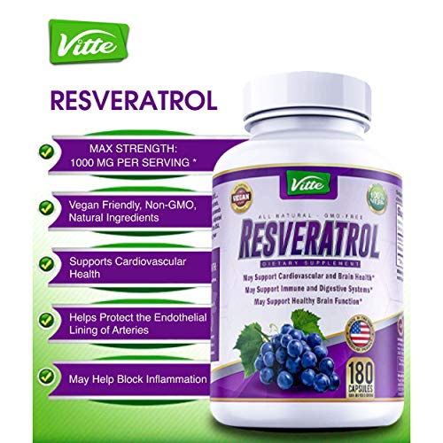 51dW1%2B%2BwCjL - 100% Pure Resveratrol 1000mg Per Serving Max Strength 180 Capsules Antioxidant Supplement Extract Natural Trans-Resveratrol Pills for Heart Health and Weight Loss Made in USA