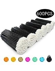 Disposable Lip Brushes 600 Pcs Make Up Brush Lipstick Lip Gloss Wands Applicator Tool(Black,600 pcs)